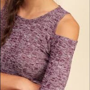 Hollister Cold Shoulder/Open Shoulder Plum Sweater